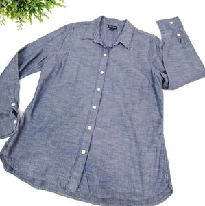 Lucky brand chambray long sleeve tee button down L